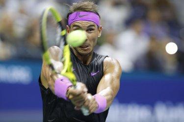 Rafael Nadal hits a backhand at the US Open