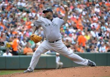 Yankees starting pitcher CC Sabathia in Baltimore