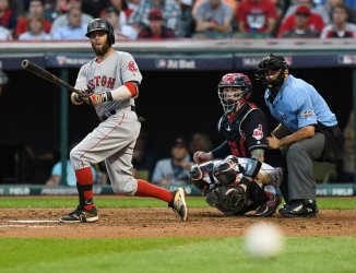 Dustin Pedroia of the Boston Red Sox Hits a Foul Ball
