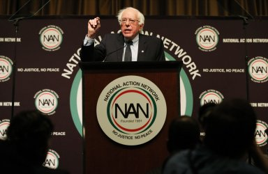 Senator Bernie Sanders speaks at the National Action Network Convention in New York
