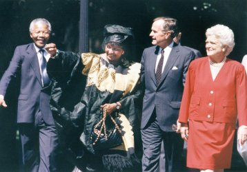 Nelson and Winnie Mandela with George and Barbara Bush on South Lawn
