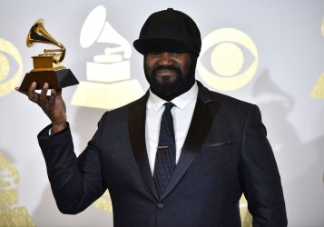 Gregory Porter wins an award at the 59th annual Grammy Awards in Los Angeles
