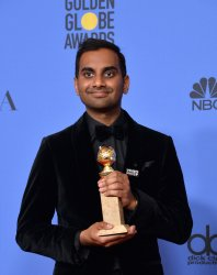 Aziz Ansari wins the award for Best Performance by an Actor in a Television Series - Musical or Comedy for 'Master of None' at the 75th annual Golden Globe Awards in Beverly Hills