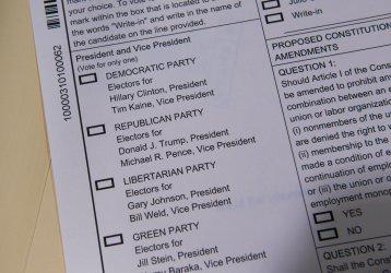 A ballot is photographed in Alexandria, Va.