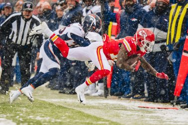 Broncos Trey Marshall knocks Chiefs' Mecole Hardman out of bounds