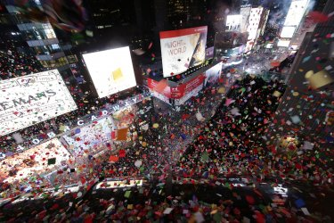 Confetti is thrown on New Year's Eve in Times Square