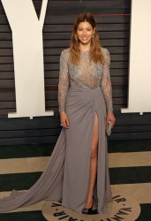 Jessica Biel arrives at the Vanity Fair Oscar Party in Beverly Hills