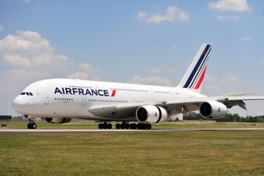 The First Airbus A380 to serve Washington lands at Dulles International Airport in Dulles, Virginia