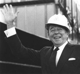 President Reagan Wear Heard Hat