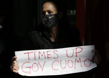 New York Gov. Andrew Cuomo Sexual Harassment Protest in New York