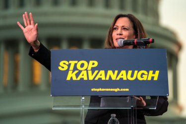 Democrats speak at a rally against Kavanaugh