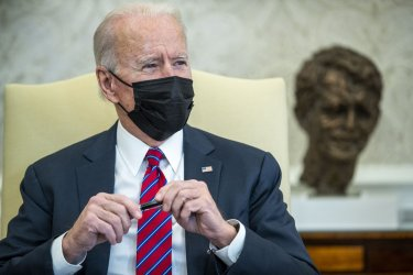 President Joe Biden participates in economic briefing with Secretary of Treasury Janet Yellen