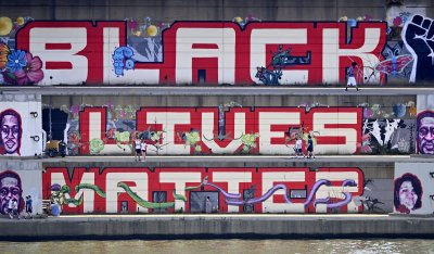 Composite image of Black Lives Matter mural in Pittsburgh