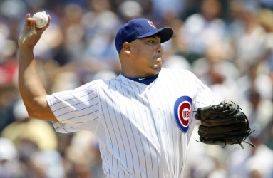 Chicago Cubs Pitcher Zambrano Throws Aginst San Francisco Giants