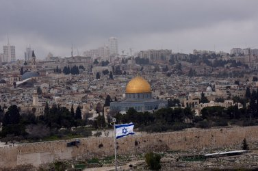 An Israeli Flag Flies On The Mt. Of Olives