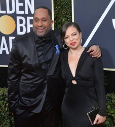 Kenya Barris and Rainbow Edwards-Barris attend the 75th annual Golden Globe Awards in Beverly Hills