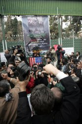 Iranian hard line Students Basij demonstration to support Iraqi TV journalist in front of the old U.S Embassy in Tehran