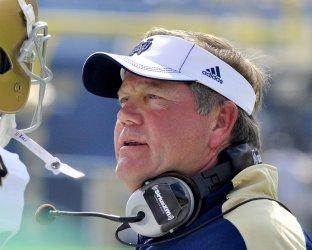 Norte Dames coach Brain Kelly in Pittsburgh