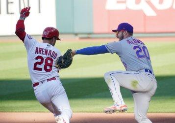 St. Louis Cardinals Nolan Arenado Safe At First Base