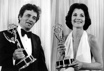 Peter Falk and Jessica Walter show off their Emmy awards.