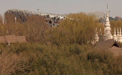 The Olympic stadium sits near a park in Beijing