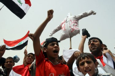 Iraqi Moslem Shiites protest against a security agreement between the U.S. and the Iraqi government
