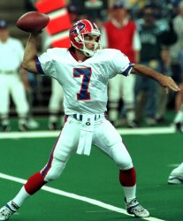 Buffalo Bills backup quarterback Doug Flutie drops back to pass against the Indianapolis Colts