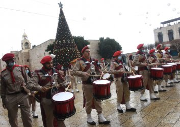 Palestinians Play Drums in Bethlehem On Christmas Eve
