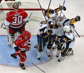 NHL Hockey Buffalo Sabres vs Carolina Hurricanes in Raleigh, N.C.