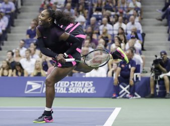Serena Williams serves at the US Open