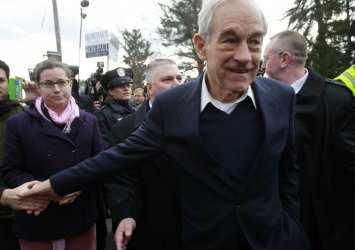 Republican presidential candidate Ron Paul in Manchester, New Hampshire.