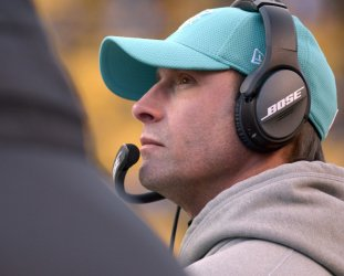 Miami Dolphins Head Coach Adam Gase in Pittsburgh