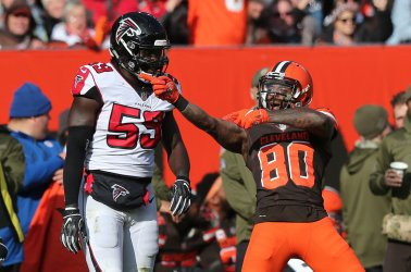 Browns Landry signals first down against Falcons