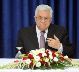 Palestinian President Mahmoud Abbas gives a speech to Israeli peace activists and the press in Ramallah, West Bank