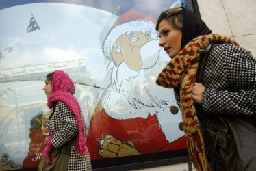 Christmas decorations on sale in Tehran.