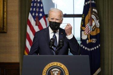 President Joe Biden speaks from the Treaty Room in the White House