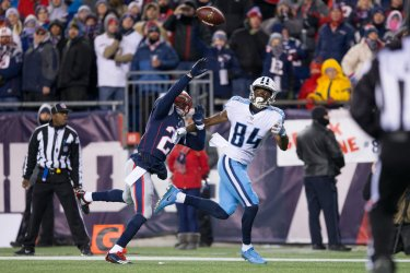 Titans Davis scores against Patriots in AFC Divisional playoff