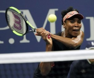 Venus Williams of the United States plays at the US Open