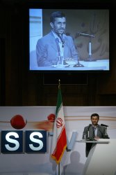 IRAN'S PRESIDENT AHMADINEJAD LAUNCHED IRAN'S FIRST ENGLISH TV CHANNEL .