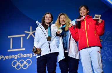 Ladies' Halfpipe Medal Ceremony at the Pyeongchang 2018 Winter Olympics