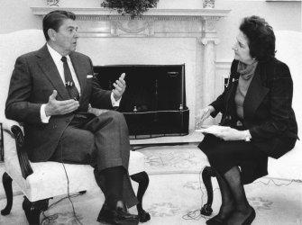 President Ronald Reagan interviewed UPI White House reporter Helen Thomas