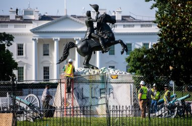 Andrew Jackson Statue is vandalized by the White House