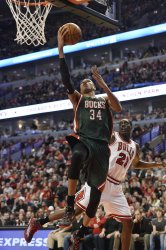 The Milwaukee Bucks Play the Chicago Bulls in Game 5 of the First Round of the NBA Playoffs in Chicago