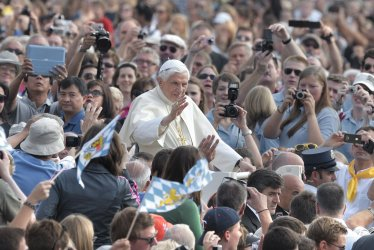 Pope Benedict XVI is shown during his weekly general audience in St. Peter square