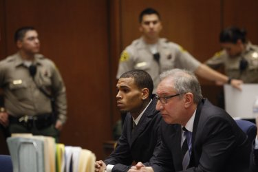 Chris Brown appears in court for probation hearing in Los Angeles