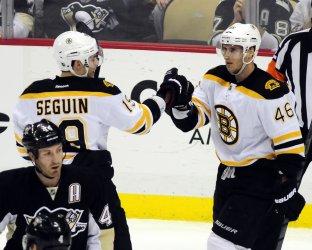 Bruins David Krejci Celebrates his Second Goal in Pittsburgh