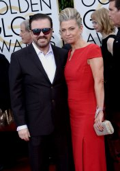 Ricky Gervais and Jane Fallon attend the 73rd annual Golden Globe Awards