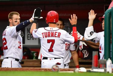 Nationals shortstop Trea Turner celebrates in the dugout