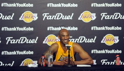 Los Angeles Lakers Kobe Bryant speaks to the media after his final game