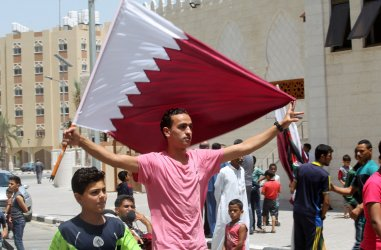 Palestinians Attend a Rally in Support of Qatar.
